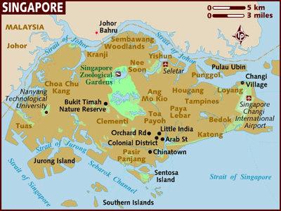 Singapour, Carte (c) Lonely Planet 2007