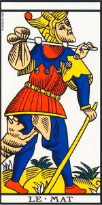 Carte du tarot de Marseille, Le Mat (c) From Wikipedia, This image is in the public domain because its copyright has expired.