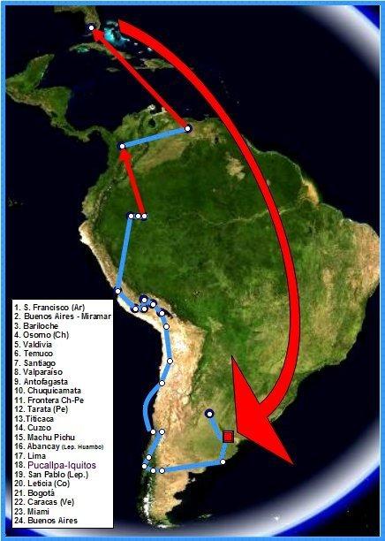 Itinéraire du Che. Source : Wikipedia (c) Domaine public