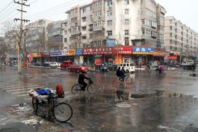 Baoding, Centre ville après la neige (c) Yves Traynard 2009
