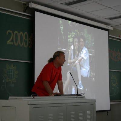Baoding, Université du Hebei, Conférence Ballade à vélo (c) Yves Traynard 2009