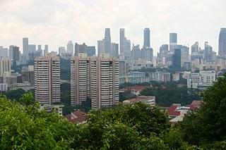 Singapour, Vue du Mont Ferber, la City(c) Yves Traynard 2007