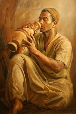 Alexandrie, Centre Ebdaa. Expo. Description de l'Egypte, peinture de Farid Fadel (c) Yves Traynard 2008