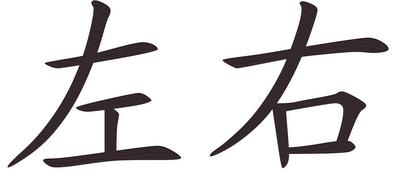 Gauche-Droite, caractères chinois (c) Yves Traynard 2008