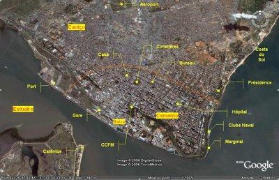 Maputo, vue aérienne commentée (c) Yves Traynard & Google Earth