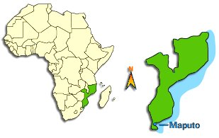 Carte de l'Afrique, le Mozambique et situation de Maputo
