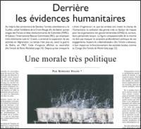 Derrière les évidences humanitaires